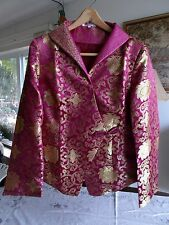 Women's Silk Fuschia and Gold Brocade Jacket, Made in China by Laogudai, Size L
