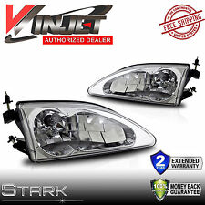 94-98 Ford Mustang Cobra Headlight Chrome Front Left & Right Head Lamps - PAIR