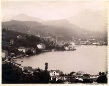 Lake Como Panorama Large vintage albumen photo Nessi 1890c L311