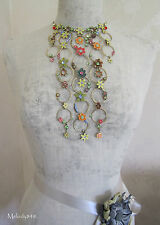 Vintage Andersen Danish PILGRIM Necklace ENCHANTED FLOWER Lily Pastels/Gold BNWT