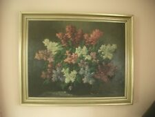 """Wunderschönes Ölbild von MALER Max Wissner """"FLIEDERBOUQUET"""" 1873-1959 gold Blume"""