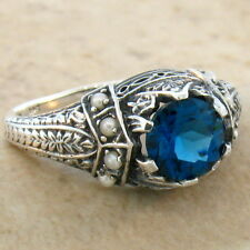 GENUINE LONDON BLUE TOPAZ ANTIQUE VICTORIAN DESIGN 925 SILVER RING SIZE 6, #619