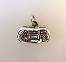 .925 Sterling Silver BOOMBOX CHARM Pendant NEW Music Stereo Radio 925 MC01