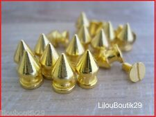 10X Clous Cone pointu metal doré à vis 8X12mm  customisation vetement sac/rock