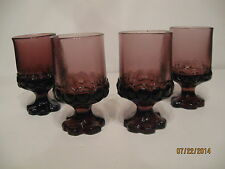 Set Of Four (4) Vintage Franciscan Tiffin Madeira Purple Wine Glasses