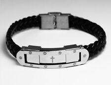 Religioso de la Pulsera de Cuero Real - CRUZ - Regalos Para los Hombres