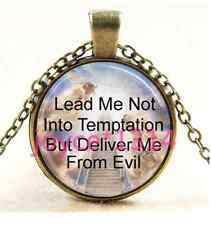 Lords Prayer Stairway to Heaven bronze Glass Chain Pendant Necklace #1487