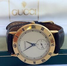 RARE Authentic Gucci Roman Numeral Bezel Cream Dial Swiss Made Watch