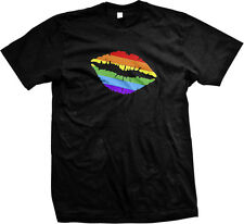 Gay Pride Rainbow Lips LGBT Lesbian Equality Prop 8 Neon Fabulous Mens T-shirt