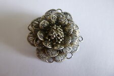 ANTIQUE SOLID SILVER FILLIGREE LACE 3D FLOWER BROOCH