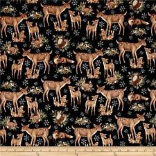 Fabric Christmas Deers & Snowflakes Old World on Black Cotton by the 1/4 yard