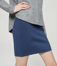 Ann Taylor LOFT - PM - NWT Solid Blue Textured Jacquard Knit Pull-on Mini Skirt