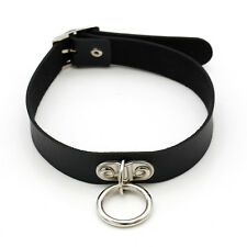 Sexy Choker Collar Neck Ring Pendant Necklace Leather Cord Punk Women Cosplay