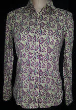 ETRO Womens Button Front Shirt Blouse Paisley Beige Green Purple Size 40 Small