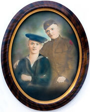 c. 1918 Affectionate World War I Soldier & Sailor Framed Crayon Portrait