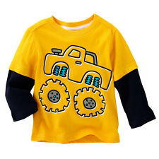 100% cotton Boys Kids long sleeve Yellow Car Tops T-Shirt Baby Toddler New
