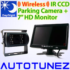 24V/12V Wireless IR CCD Reversing Camera Caravan Truck Car Parking Rear View AT