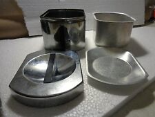 Vintage Kromex Aluminum Grease Canister 4 Pc Lid Strainer Insert USA