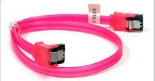 """OKgear SATA v1,2,3 Cable - 18"""" Long with Straight and Right Angle Ends - UV Red"""