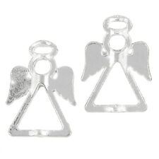 Tibetan Silver Plated Angel & Fairy Bead Frames Pendants 26mm Pack of 2 (J32/1)