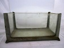 Vtg Antique Fish Tank Aquarium Cast Metal Sculpted Frame with Original Glass