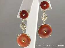 VINTAGE HIGH QUALITY DISC TRANSLUCENT RED JADE EARRINGS 14K YELLOW GOLD
