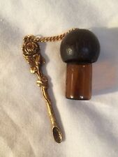 1 Gold rose spoon glass tobacco Snuff Vial Chain Screw Top Vintage / New