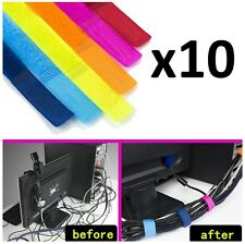 10-Pack Computer Cable Wire Organizer Cord Headphone Wrap Tie Holder Bundle - 7""