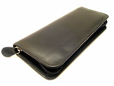 BLACK TRIPLE soft nappa leather zipped pen case/pouch with LARGE pen loops OTO