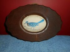 HAND PAINTED BLUE JAY LINEN PILLOW AMERICAN WALNUT FRAME SIGNED ARTS AND CRAFTS