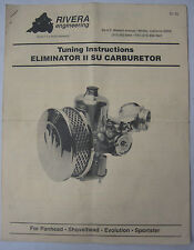 Tuning Instructions Eliminator II SU Carburetor Models - REPRODUCTION