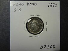 HONG KONG 1892 QV SILVER FIVE 5 CENTS , LUSTROUS GEM UNC ! GORGEOUS COIN !