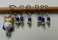 Stitch marker, knitting 6+1, glass, pewter beads and cloisonne owl