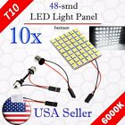 10 x Festoon T10 BA9S 48-SMD Panel Dome Map Interior LED Light Bulbs 12V - White