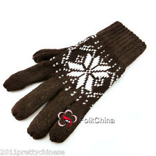 Brown New Fashion Men's Women's Winter Thermal Wool Gloves