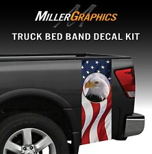 American Flag Bald Eagle Truck Bed Band Decal Graphic Sticker Kit