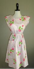 Rare Vintage 1950's SWIRL Apron Dress Size M to L White Hot Pink Orange Floral
