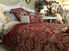 LUXURIOUS BURGUNDY RED QUILTED BEDSPREAD  SINGLE JACQUARD HALF PRICE