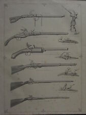 1863 PRINT ~ THE GUN FLINT-FOWLING PIECE SNAPHAUNCE ~ WHEEL LOCK MATCHLOCK
