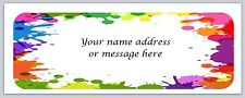 30 Personalized Return Address Labels Paint Splashes Buy 3 get 1 free (bo463)