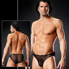 Transparent Slip Rio String Micro MeshUni GAY Schwarz in S M S/M Blue Line