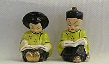 Vintage Oriental Boy and Girl Reading Books -  Salt Pepper Shakers - Japan