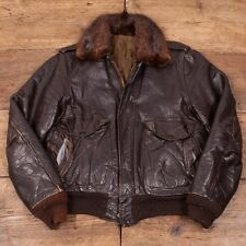 "Vintage 1960's Dark Brown Leather Real Fur Collar Flight Jacket Mens 36"" S R2990"