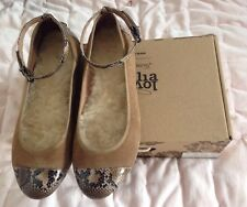 Love From Australia Sheepskin Caramel Snake Suede Ballet Flats UK 6 US 8 EUR 39