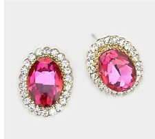 """0.75"""" Pink Fuchsia Gold Crystal Stud Earrings Pierced Post Pageant"""