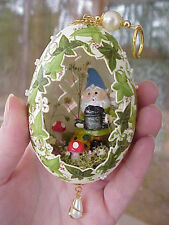REAL Hand Decorated Goose Egg Collectible Ornament Garden Gnome Ivy/Flowers OOAK