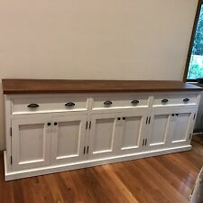 Australian Made Gradeview White Painted Buffet Sideboard Tassie Oak Top