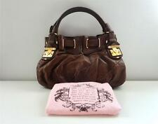 $398 AUTHENTIC JUICY COUTURE BROWN LEATHER FREESTYLE LOCK SATCHEL HOBO TOTE BAG