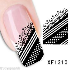 Nail Art Water Decals Transfers Black White Lace French UV Tips Decoration