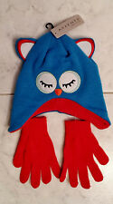 Axxents Child's Blue White Red Soft Knit Owl Winter Hat With Free Red Gloves
